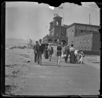 People walk on the boardwalk near the North Beach Bath House, Santa Monica, about 1895