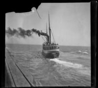S. S. Corona leaving Port Los Angeles, Santa Monica, about 1898