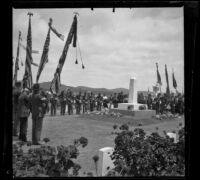 Military personnel commemorate Decoration Day at Los Angeles National Cemetery, Los Angeles, about 1895