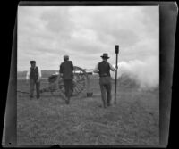 Servicemen fire a cannon during a Decoration Day service at Los Angeles National Cemetery, Los Angeles, about 1895