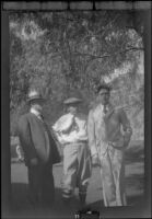 Will H. Shaw, H. H. West and Wright Prickett, Jr. pose during an outing to Sunset Canyon Country Club, Burbank, about 1930