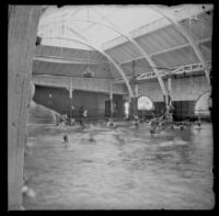 Interior view of the old North Beach bath house plunge, Santa Monica, about 1895