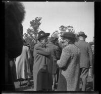 Helen Cook speaks with another woman at the Iowa Picnic in Lincoln Park, Los Angeles, 1939