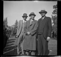 Ralph Hiatt, Doc Ashby, and another man pose together at the Iowa Picnic in Lincoln Park, Los Angeles, 1939