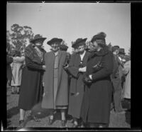 Alice Baltzell Tibbetts, Leta French, and Laura Bell Gibson pose with another woman at the Iowa Picnic in Lincoln Park, Los Angeles, 1939