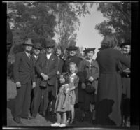 Fannie Mead Biddick poses with her granddaughters and others at the Iowa Picnic in Lincoln Park, Los Angeles, 1939