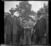 W. J. Roberts, Sam Longstreet, Cosette Longstreet, and John Ashby at the Iowa Picnic in Lincoln Park, Los Angeles, 1940