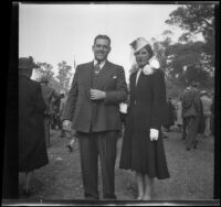 Sam Longstreet and his wife, Cosette, at the Iowa Picnic in Lincoln Park, Los Angeles, 1940