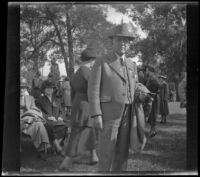 Man poses for the camera at the Iowa Picnic in Lincoln Park, Los Angeles, 1940