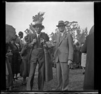 Doc Ashby and Mr. Kelly at the Iowa Picnic in Lincoln Park, Los Angeles, 1940