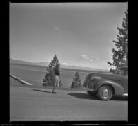 Mertie West stands in the road above Lake Tahoe, Lake Tahoe, 1942