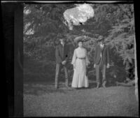 Georgia Harrington poses in Griffith Park with two unknown boys, Los Angeles, about 1900