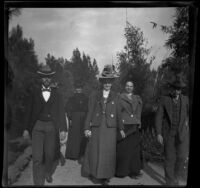 Group of H. H. West's friends and family walk through Lincoln (Eastlake) Park, Los Angeles, 1899