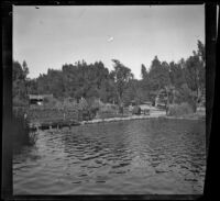 Stepping stones stretch across the lake in Lincoln (Eastlake) Park, Los Angeles, about 1900