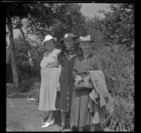Daisy Conner Thompson, Jessie Conner McIntyre and Viola S. Conner pose at the Pioneer Picnic held in Sycamore Grove Park, Los Angeles, 1940