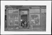 Frank Lemberger poses in front of his hardware store, Los Angeles, about 1844 or 1885