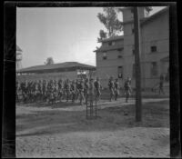Military troops marching in Exposition (Agricultural) Park, Los Angeles, 1898