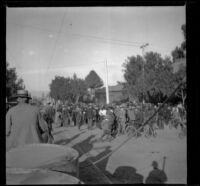 Crowd of troops and spectators at Exposition (Agricultural) Park, Los Angeles, about 1900