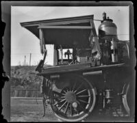 Wrecked Southern Pacific Railroad train engine at River Station, viewed from the side, Los Angeles, about 1898