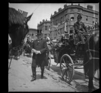 Henry E. Huntington exits his carriage as he arrives at the Van Nuys Hotel, between 1900-1905