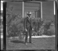 Wayne West stands in front of the West's house at 240 South Griffin Avenue, Los Angeles, 1897