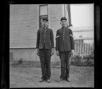 Wilson West and Wayne West pose in their Boys' Brigade uniforms, Los Angeles, 1897