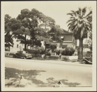 Wilson D. West stands in front of the old West family residence on South Griffin Avenue, Los Angeles, 1936
