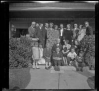 Whitaker family poses in front of H. H. West's house on Hobart Boulevard, Los Angeles, about 1925