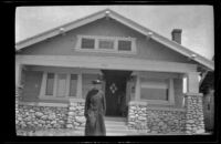 Wilhelmina West in front of Wilson West's home at 4262 Walton Avenue, Los Angeles, about 1915