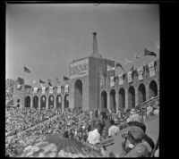Crowd at the Los Angeles Memorial Coliseum watches the Olympic Games, Los Angeles, 1932