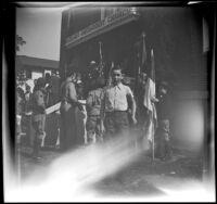 Richard Siemsen poses outside Asbury Methodist Church, Los Angeles, 1943