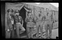 Charles Glenn, Jose Miller, Harold Brown, David Sparks and Herman Schultz pose in front of the barracks (negative), Camp Murray, 1942