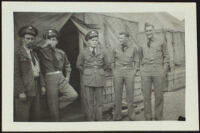 Charles Glenn, Jose Miller, Harold Brown, David Sparks and Herman Schultz pose in front of the barracks (photo, recto), Camp Murray, 1941 or 1942