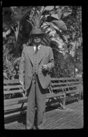 James C. Hanley poses in Pershing Square, Los Angeles, 1943