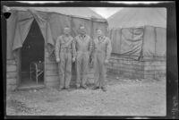 David Sparks, Herman Schultz and John Lynch pose outside the barracks, Camp Murray, 1942