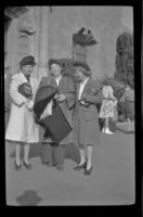 Frances Cline Greene, Frances West Wells and Mertie West stand outside the Glendale Southern Pacific Railroad Depot, Glendale, 1944