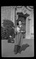 Frances West Wells poses outside the Glendale Southern Pacific Railroad Depot, Glendale, 1944