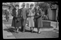 Zetta Witherby, Wes Witherby, Dode Witherby and Mertie West pose in the courtyard at El Paseo, Santa Barbara, 1945