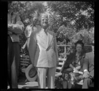 Earl Kellum attends the Southern Pacific Railroad employee picnic, Los Angeles, 1945