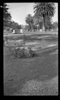 Distant view of Thornton Chase's tomb in Inglewood Cemetery, Los Angeles, 1946