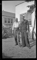 Romayne Shaw and Richard Shaw pose in the backyard of W. H. Shaw's home, Los Angeles, 1946