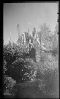 Mertie West stands in front of delphiniums in Mrs. Cunningham's garden, Anchorage, 1946