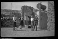Zetta Witherby, Dode Witherby, Mertie West and Wes Witherby visit the Harmony Borax Works, Death Valley National Park, 1947