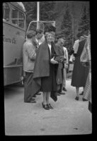 Mertie West stands near the sightseeing bus at Emerald Lake, Yoho National Park, 1947