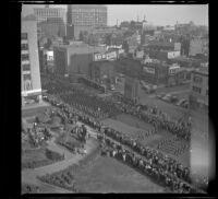 Holy Name Society parade marches down a Boston street, Boston, 1947