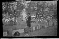 Mertie West visits Granary Burying Ground, Boston, 1947