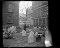 Mertie West in the Old Trinity Church burial ground, New York, 1947