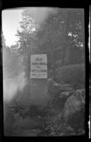 Sign identifying the locations of the north bridge and Battle of Concord, Concord, 1947
