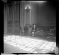 Mertie West sits in the lobby of the George Washington Masonic National Memorial, Alexandria, 1947