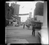 Shrine banner stretching over Peachtree Street, Atlanta, 1947